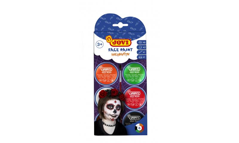 JOVI Easy Wash Cream Face Paint HALLOWEEN - kit - 6 units 8ml + brush + sponges