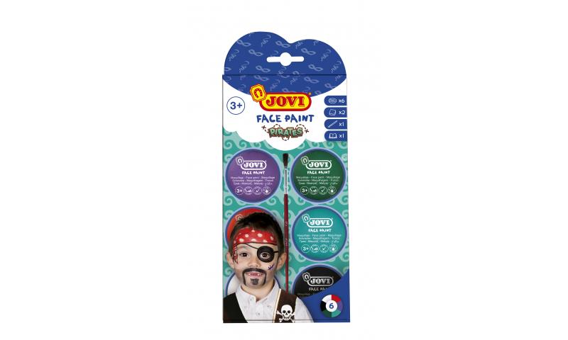 JOVI Easy Wash Cream Face Paint PIRATES - kit - 6 units 8ml + brush + sponges
