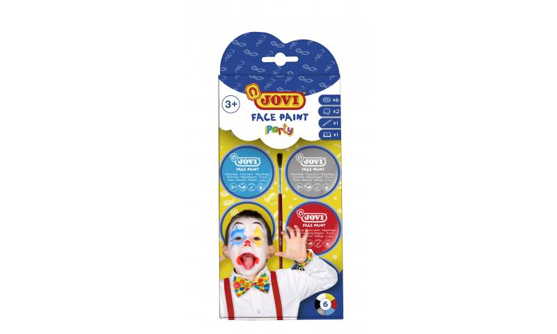 JOVI Easy Wash Cream Face Paint PARTY - kit - 6 units 8ml + brush + sponges