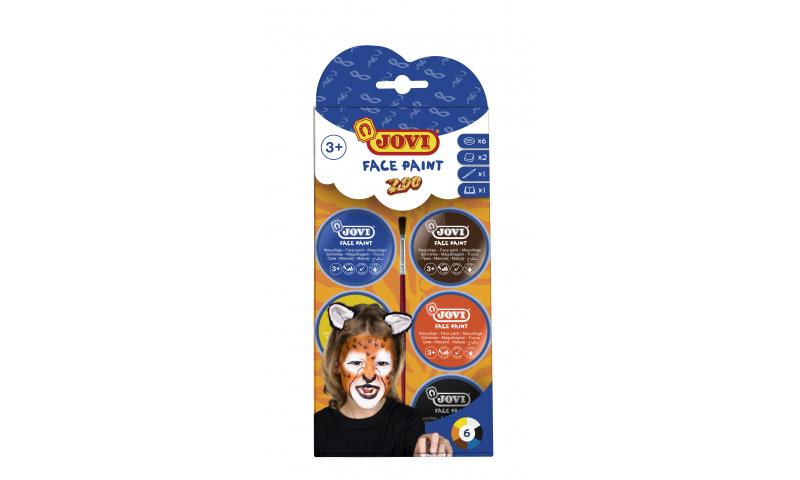 JOVI Easy Wash Cream Face Paint  ZOO - kit - 6 units 8ml + brush + sponges