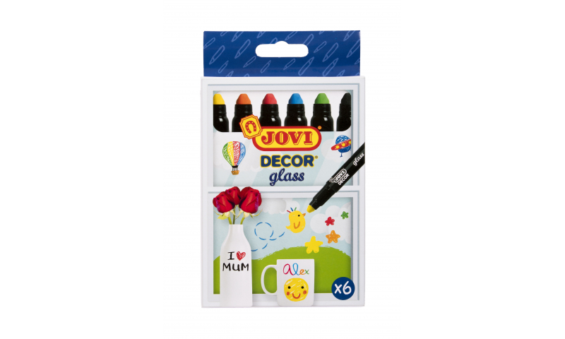 JOVI Decorate Glass Gel Markers Hangpack of 6 assorted colours.  (New Lower Price for 2021)