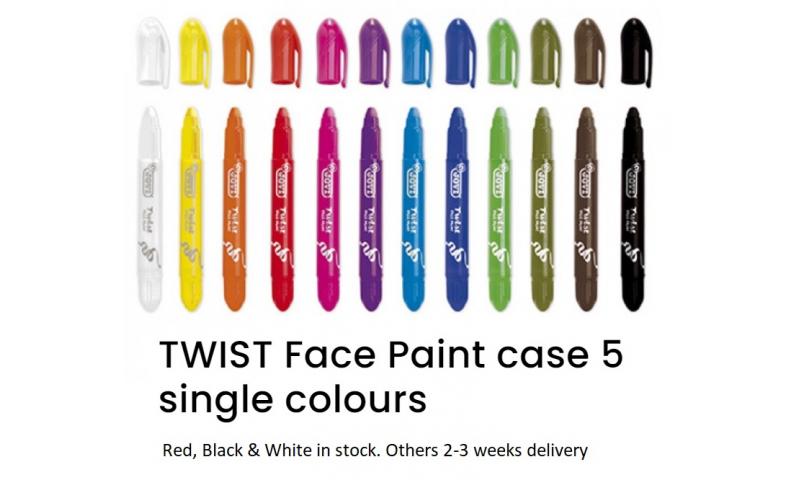 JOVI Twist Up Face Paint - 5pk Solid Colours, 3 Colour choices.