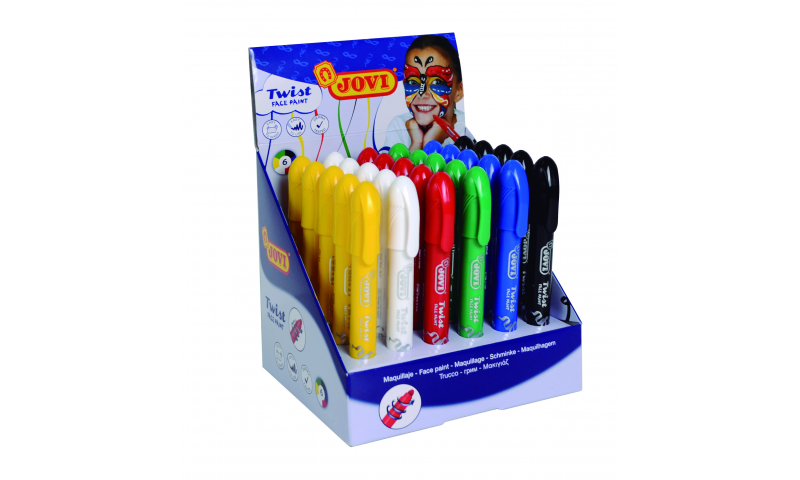JOVI Twist Face Make Up Paints - Display of 30 Units - Assorted Primary Colours. (New Lower Price for 2021)