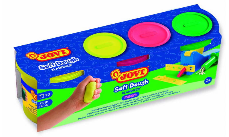 JOVI Soft Play Dough 3Pk of 110g Asstd Neon Colours