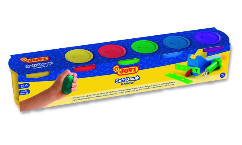 JOVI Soft Play Dough 5Pk of 110g Asstd Primary Colours