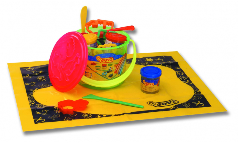 JOVI Soft Play Dough - bucket containing 4 x 50gram, Playmat + 6 shapes + tools