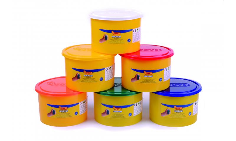 JOVI Soft Play Dough -Bulk Class Tub 460gr - 6pk Asstd Primary Colours