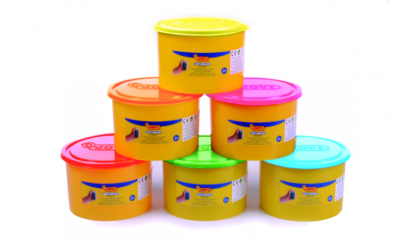 JOVI Soft Play Dough -Bulk Class Tub 460gr - 6pk Asstd Neon Colours