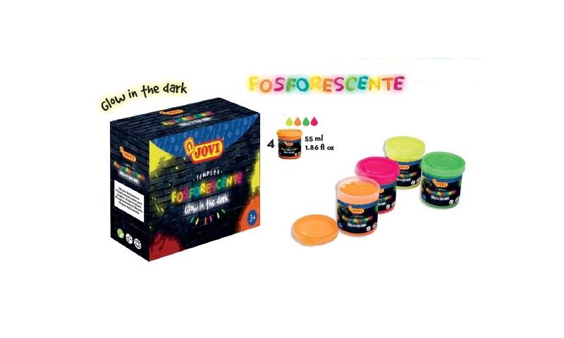 JOVI Kids Glow in the Dark Tempera Kit of 4 Asstd 55ml Tubs