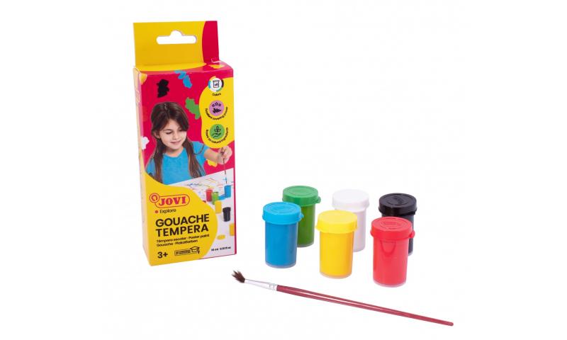 JOVI Tempera Paint, Hangbox of 6 x 15ml Primary Colours
