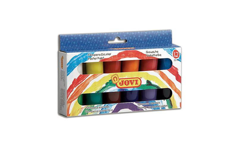 JOVI Tempera Paint, Hangbox of 12 x 15ml Primary Colours