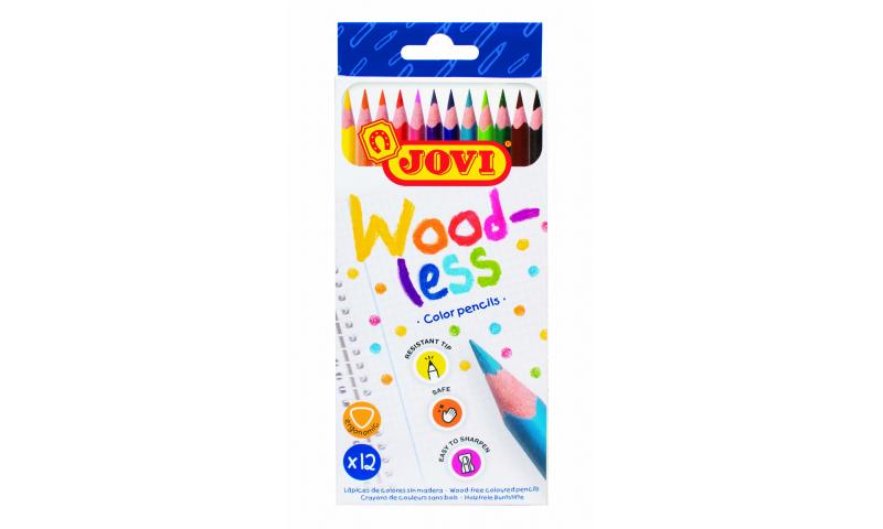 JOVI Eco Woodless Colour Pencils - Hangpack of 12 assorted colours