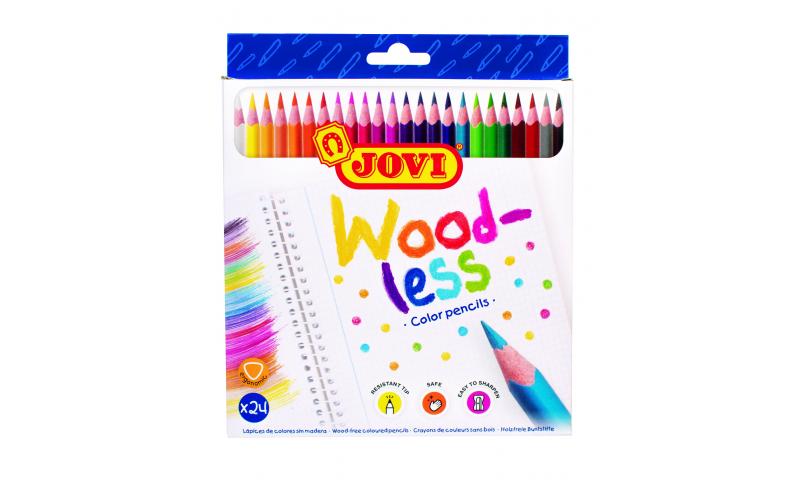 JOVI Eco Woodless Colour Pencils - Hangpack of 24 assorted colours.