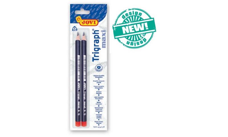 JOVI Trigraph Jumbo Beginners Pencils B Soft Lead, Twinpack Carded