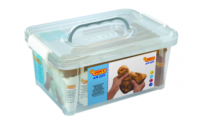 JOVI Air Drying Modelling Clay - Carry box of 5 White & 2 Terracotta 500g & 20 tools