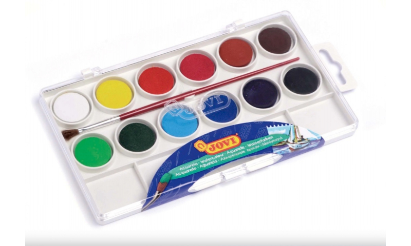 JOVI Watercolours, Box of 12 tablets 22 mm assorted colours + brush