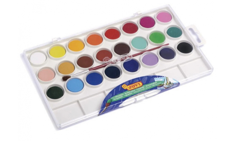 JOVI Watercolours, Box of 24 tablets 22 mm assorted colours + brush