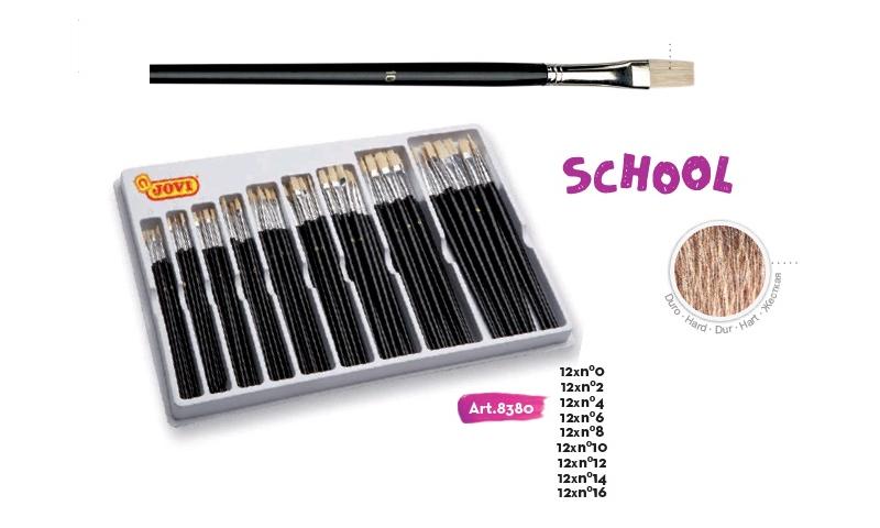 JOVI School Paint Brushes Large Flat Pony Hair, Display of 108 Asstd Sizes