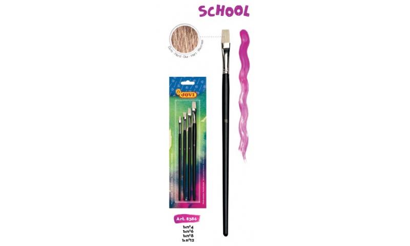 JOVI School Paint Brushes Large Flat Pony Hair, Retail Hangpack of 4 Asstd