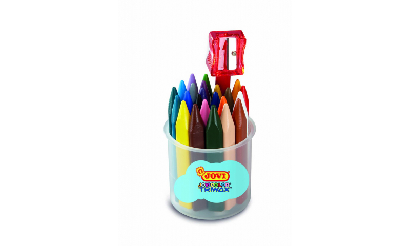 JOVI Jovicolor Large Triwax Wax Crayons, Jar of 24 units - assorted colours