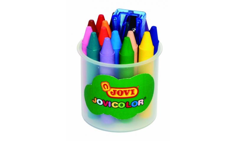 JOVI Jovicolor Chubby Wax Crayons, Jar of 16 units + sharpener