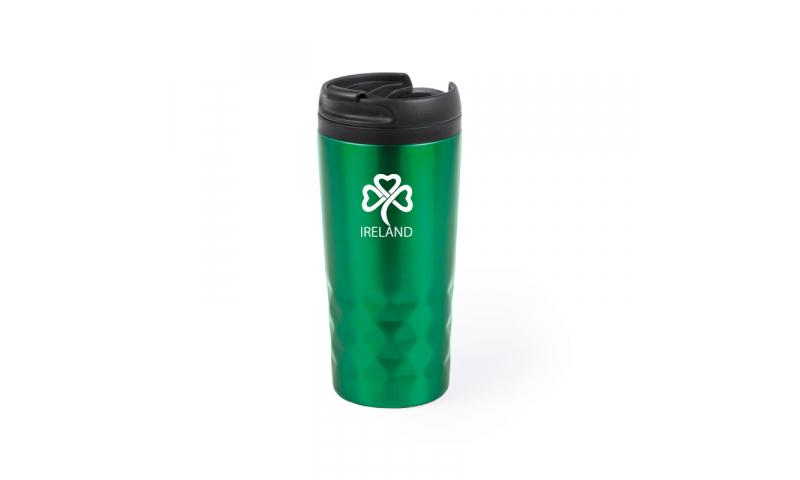 Ireland KeepMe Metallic Diamond Pattern Travel Mug, Green 310ml