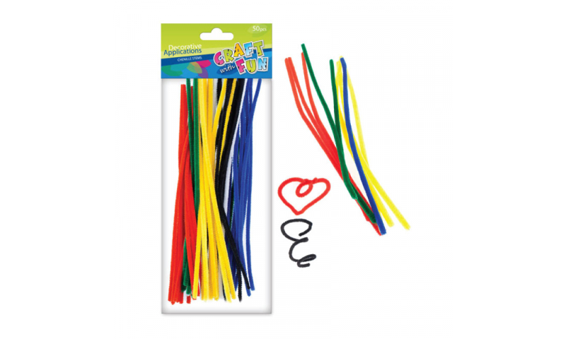 CRAFT with FUN CHENILLE STEMS Primary Colours 30PCS