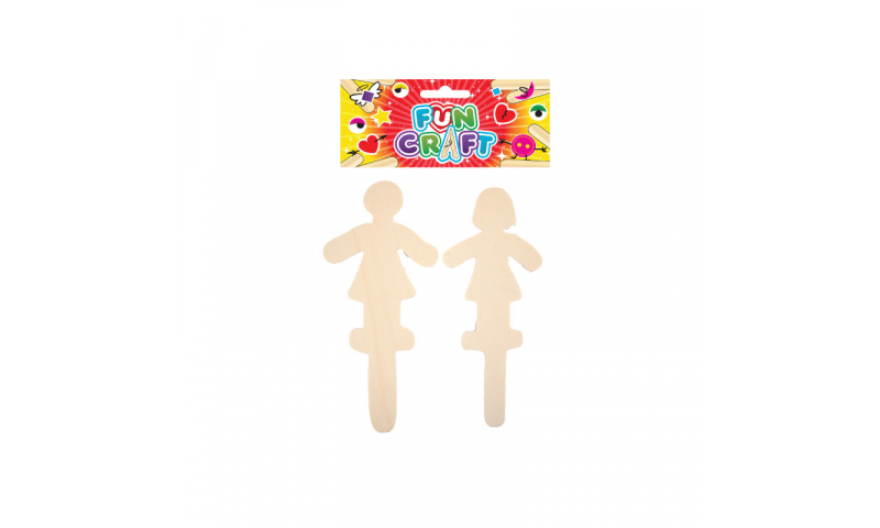 Craft with Fun Nautral Wooden People Sticks, 2pk. (New Lower Price for 2021)