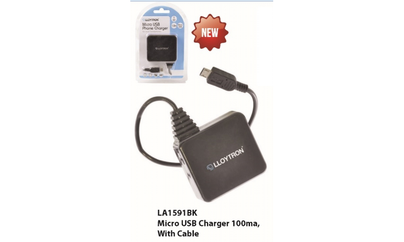 Lloytron Micro USB Charger, 100ma, with cable