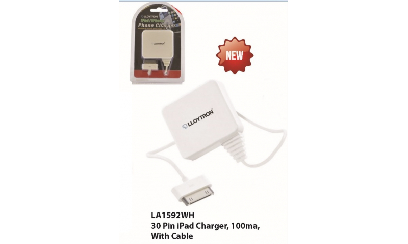 Lloytron 30pin ipad Charger, 100ma, with cable