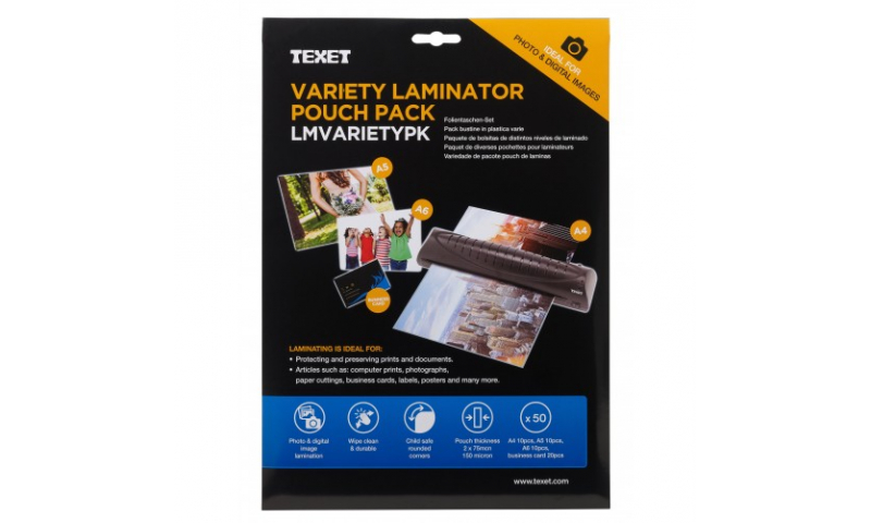 Texet Variety Pack of Lamination Pouches. From Bus. Card to A4 Size, Pack of 50 (New Lower Price for 2021)