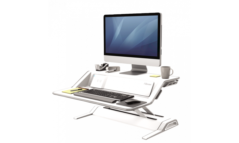 Fellowes Lotus™ DX Microban® Protection Sit-Stand Workstation - White