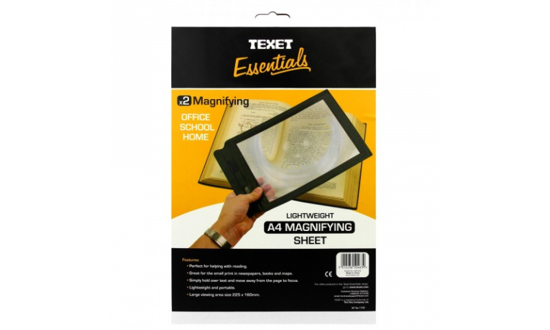 Texet Full A4 Size Magnifying Sheet, Carded