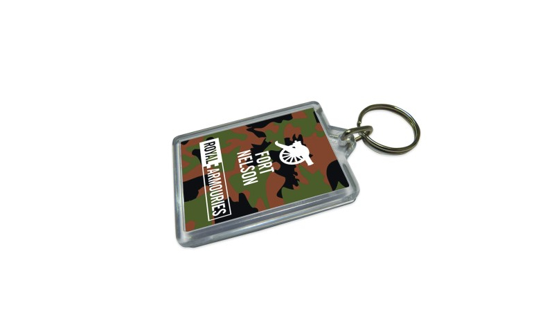 Camo Acrylic Keyring, Camo Background with your design on both sides