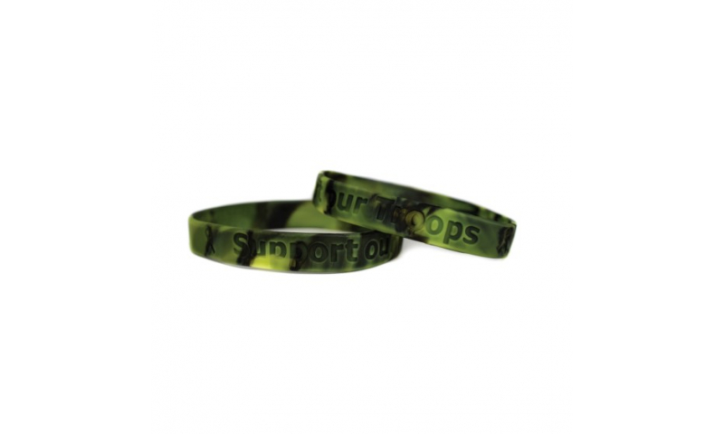 Camo Rubber silicone wristband , debossed print or overprint
