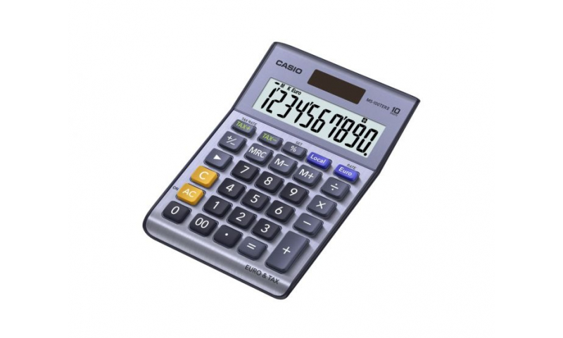 Casio 10 digit, 2 way, tax & exchange, Desk Calculator, Chrome Casing