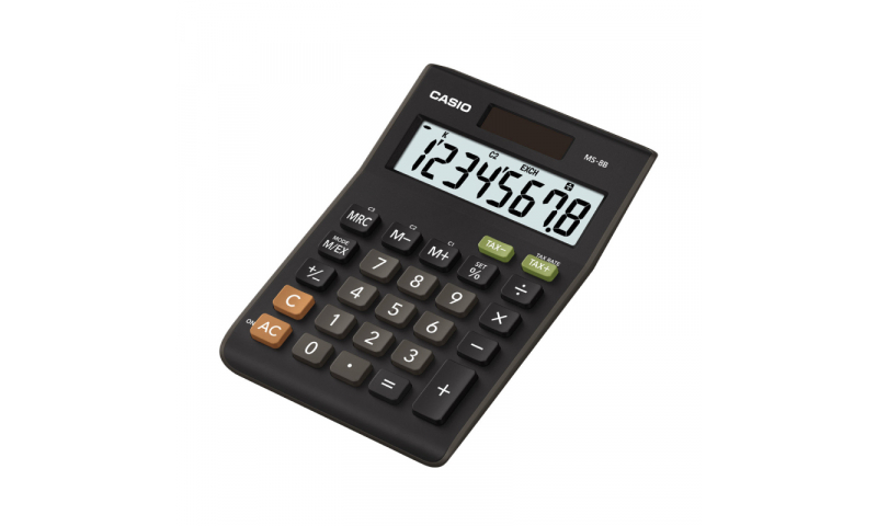 Casio 8 Digit Desk Calculator, Large Display & Keys, Additional Tax Keys (New Lower Price for 2021)