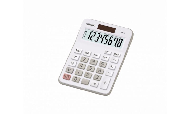 Casio Semi-Desk Calculator with 8 Jumbo LCD Digits, White casing (New Lower Price for 2021)
