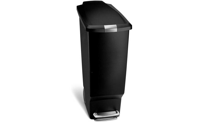 Simplehuman® 25L Slim Pedal Bin, Black Plastic with Lid Lock