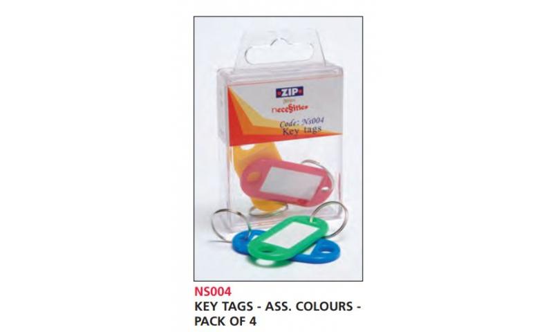 Zip Necessities Keytags, Hangpack of 4 Asstd