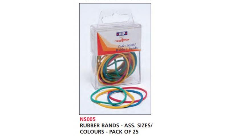 Zip Necessities Rubber bands, Hangpack of 25 Asstd Cols