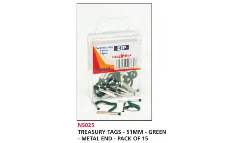 Zip Treasury Tags Green 51mm Metal Ends, Pack of 15