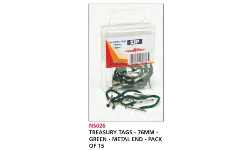 Zip Treasury Tags Green 76mm Metal Ends, Pack of 15
