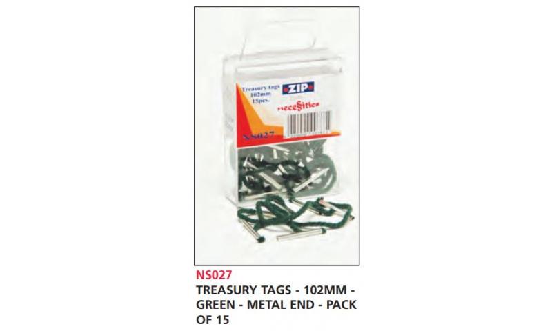 Zip Treasury Tags Green 102mm Metal Ends, Pack of 15