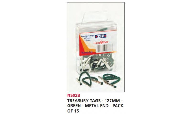 Zip Treasury Tags Green 127mm Metal Ends, Pack of 15