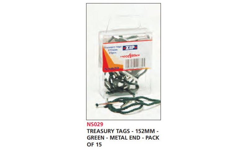 Zip Treasury Tags Green 152mm Metal Ends, Pack of 15