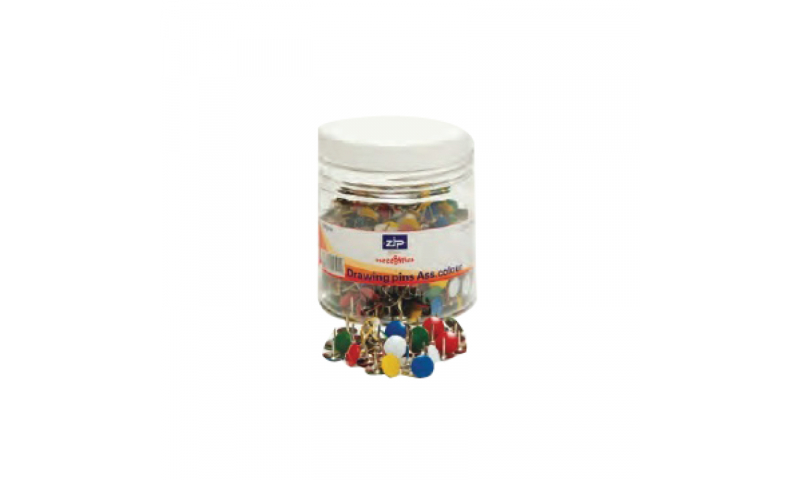 Zip Drawing Pins, Asstd colours Tub of 750