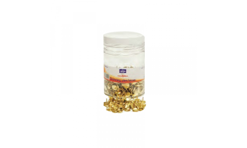 Zip Drawing Pins, Brass Tub of 1000