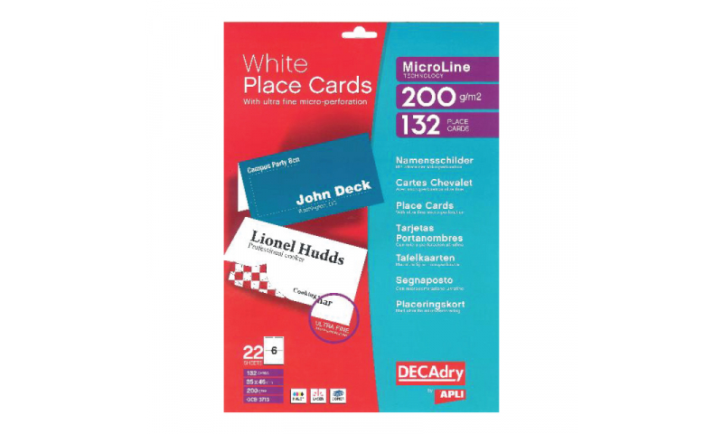 DECADRY White Name Place Cards 85x46mm 200g Micro perf, 132 Cards