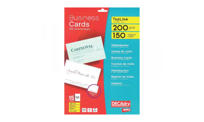 Decadry 200gsm White Business Cards 10 per  Sheet- 15 Sheets Smooth Square Edges. (New Lower Price for 2021)
